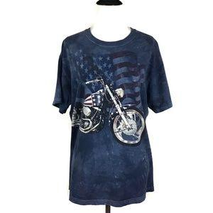 3D Motorcycle American Flag Tye Dye Tshirt Medium